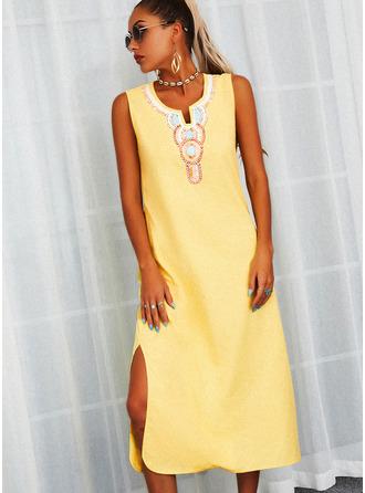 Print Shift Sleeveless Maxi Casual Dresses