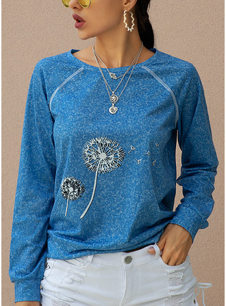 Dandelion Print Round Neck Long Sleeves Casual T-shirt