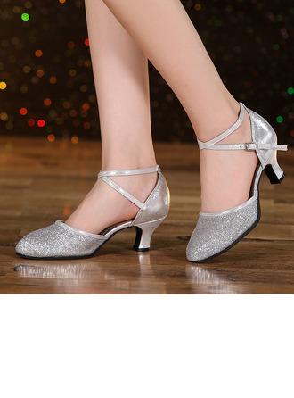 De mujer Cuero Brillo Chispeante Tacones Sandalias Sala de Baile Swing Zapatos de danza