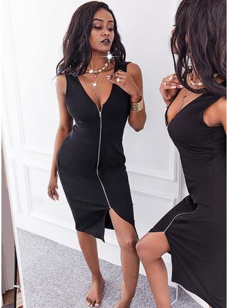Solid Bodycon Sleeveless Midi Little Black Casual Pencil Dresses