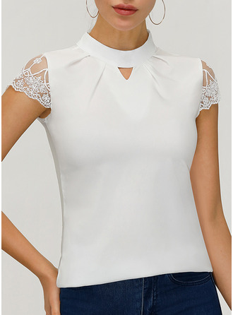 Lace Solid Stand collar Short Sleeves Casual