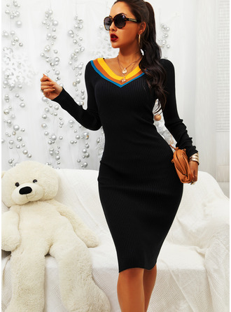 Striped Bodycon Long Sleeves Midi Casual Elegant Pencil Dresses