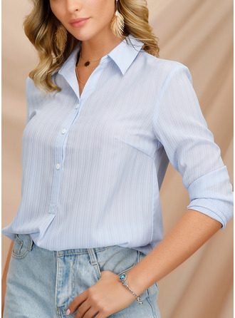 Solid Lapel Long Sleeves Button Up Casual Sexy