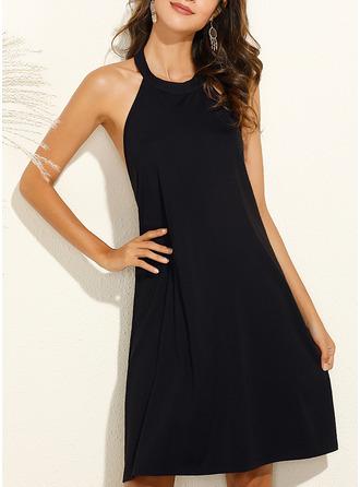 Solid Shiftklänningar Ärmlös Mini Den lilla svarta Fritids Modeklänningar