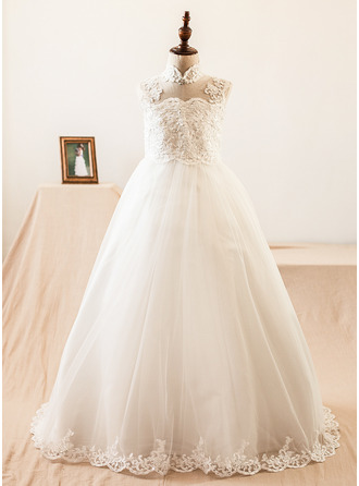 Ball-Gown/Princess Sweep Train Flower Girl Dress - Satin/Tulle Sleeveless Mandarin collar With Beading/Appliques