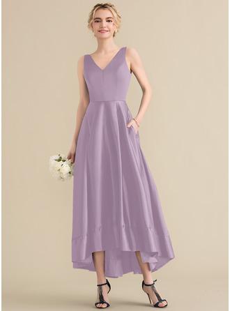 A-Line V-neck Asymmetrical Satin Prom Dresses With Pockets