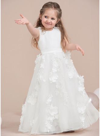 Forme Princesse Longueur ras du sol Robes à Fleurs pour Filles - Satiné/Tulle Sans manches Col rond avec Dentelle/Fleur(s)