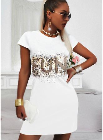 Print Sequins Letter Shift Short Sleeves Mini Casual T-shirt Dresses