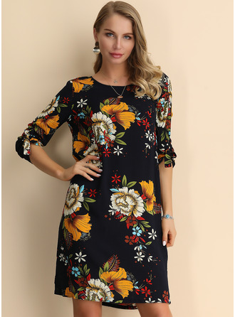 Above Knee Round Neck Cotton Print 1/2 Sleeves Fashion Dresses