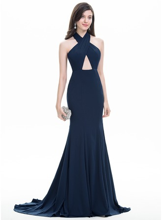 Trumpet/Mermaid Halter Sweep Train Jersey Prom Dress