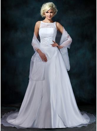 Corte A/Princesa Escote redondo Cola capilla Satén Organdí Vestido de novia con Encaje Bordado