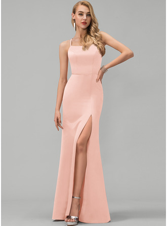 Платье-чехол квадратный вырез Длина до пола Атлас Платье Для Выпускного Вечера с Разрез спереди