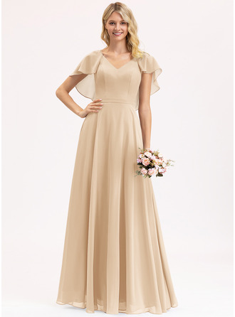 A-Line V-neck Floor-Length Chiffon Bridesmaid Dress With Cascading Ruffles