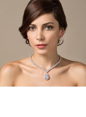 Beautiful Zircon/Platinum Plated Ladies' Necklaces