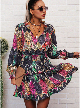 Leopard Geometric Print A-line Lantern Sleeve Long Sleeves Mini Casual Skater Dresses