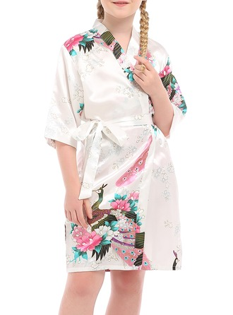 Flower Girl Polyester With Knee-Length Floral Robes Girl Robes