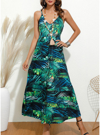 Floral Print A-line Sleeveless Maxi Casual Type Dresses