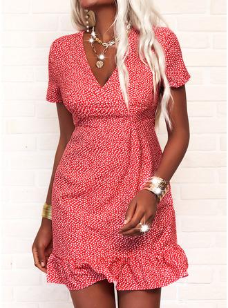 Print Sheath Short Sleeves Mini Casual Dresses