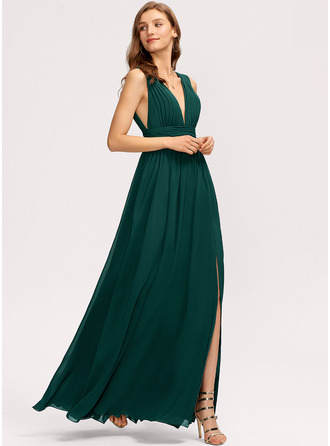 A-Line V-neck Floor-Length Evening Dress