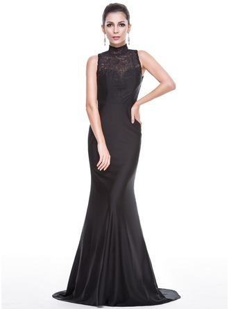 Раструб/Платье-русалка Высокая шея Sweep/Щетка поезд Jersey Платье Для Выпускного Вечера