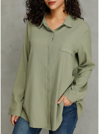 Solid Lapel Long Sleeves Button Up Casual