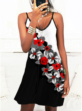 Color Block Floral Print A-line Sleeveless Mini Casual Vacation Skater Type Dresses