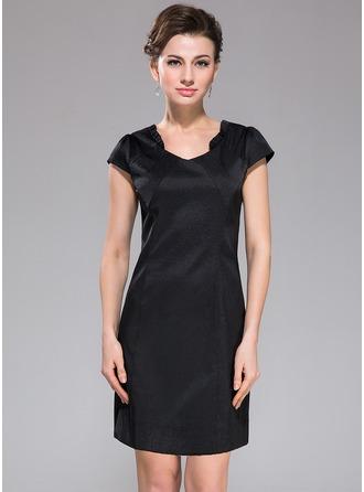 Sheath/Column V-neck Short/Mini Satin Cocktail Dress With Ruffle