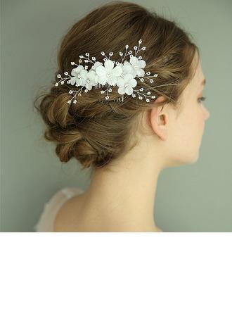 Señoras Maravilloso Flores de seda Peines y pasador con Rhinestone (Se venden en una sola pieza)