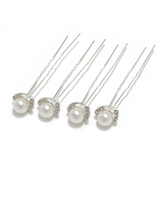 Charming Alloy/Imitation Pearls Hairpins With Czech Stones (Set of 4)