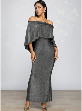 Maxi Off the Shoulder Polyester Sequins/Solid/Slit 1/2 Sleeves/Split Sleeve Fashion Dresses