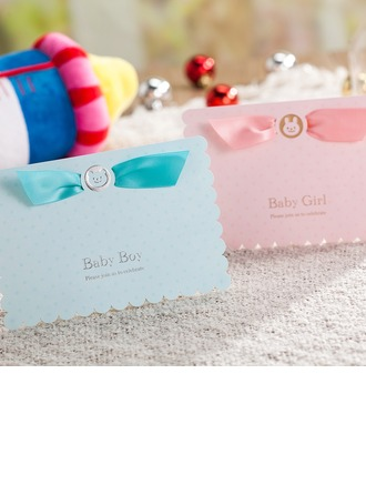 Baby Boy/Girl Top Fold Invitation Cards With Ribbons (Set of 50)