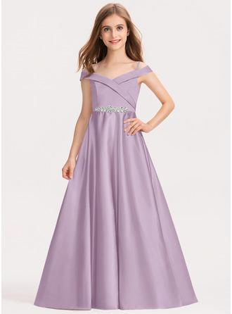 Tanssiaismekot/Prinsessa Off--Shoulder Lattiaa hipova pituus Satiini Nuorten morsiusneito mekko