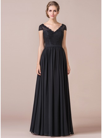A-Line/Princess V-neck Floor-Length Chiffon Prom Dresses