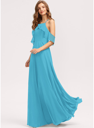 A-Line Square Neckline Floor-Length Chiffon Bridesmaid Dress