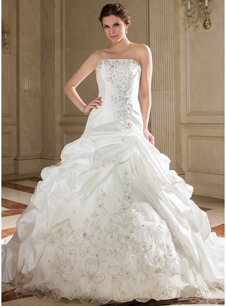 Ball-Gown Strapless Chapel Train Taffeta Wedding Dress With Embroidered Ruffle Beading Sequins