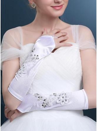 Satén Po loket Svatební rukavice