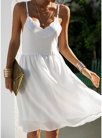Solid A-line Sleeveless Mini Casual Type Dresses