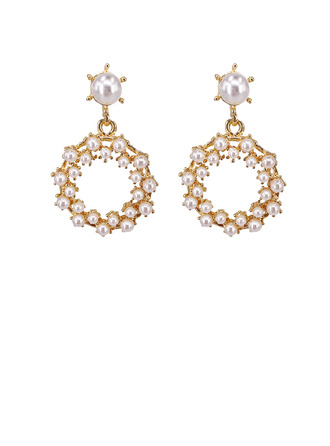 Ladies' Elegant Alloy/S925 Sliver Imitation Pearls Earrings For Bride