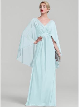 Трапеция V-образный Длина до пола шифон Платье Для Матери Невесты с Рябь развальцовка