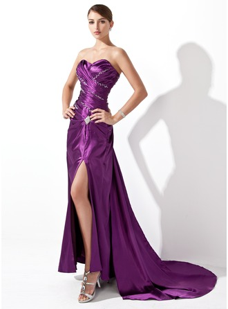 A-Line/Princess Sweetheart Court Train Charmeuse Evening Dress With Ruffle Beading Split Front