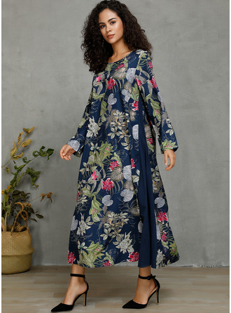 Floral Print Shift 3/4 Sleeves Maxi Casual Dresses