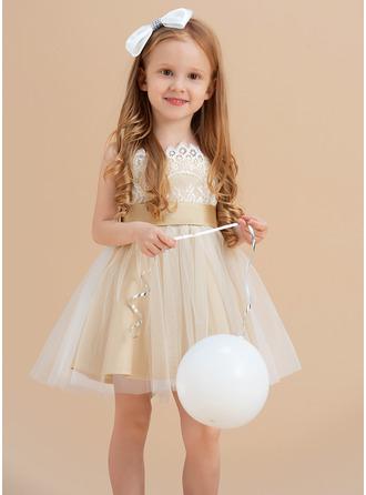 Princesový Po kolena Flower Girl Dress - Tyl/Krajka Bez rukávů popruhy S Šerpy/Luk (Nedělitelná křídla)