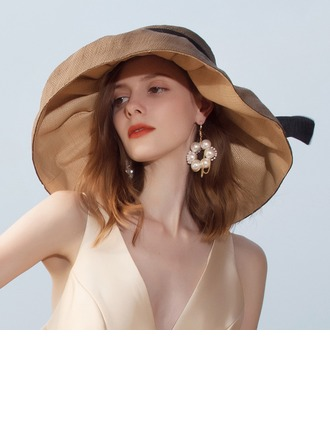 Dames Glamour/Simple Raphia paille Calotte / ample