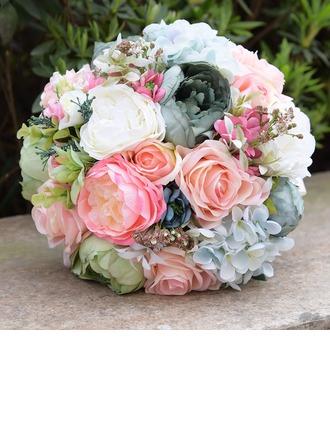 Rond Satiné/Soie Bouquets de mariée (vendu en une seule pièce) -