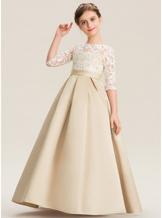 Ball-Gown/Princess Floor-length - Satin/Lace 1/2 Sleeves Scoop Neck