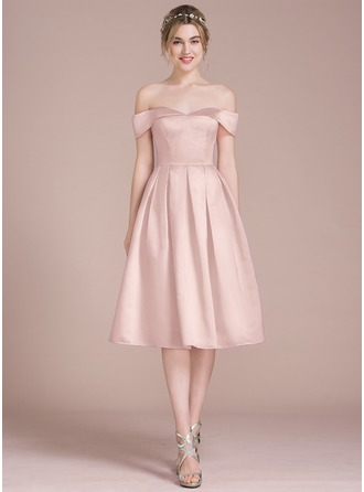 A-Line Off-the-Shoulder Knee-Length Satin Bridesmaid Dress