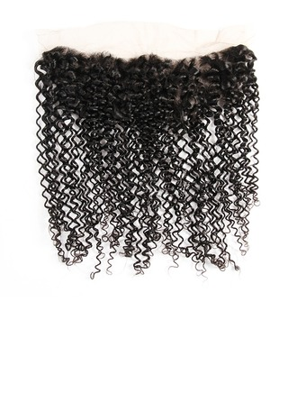 "13""*4"" 4A Non remy Kinky Curly Human Hair Closure (Sold in a single piece) 70g"