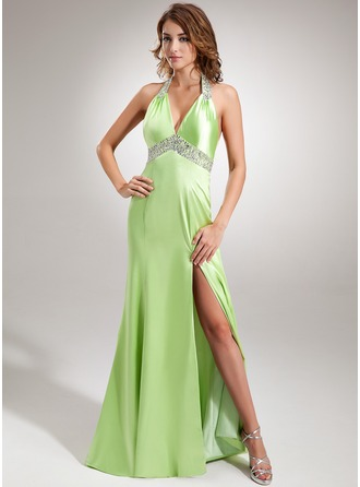 Trumpet/Mermaid Halter Sweep Train Charmeuse Evening Dress With Ruffle Beading Sequins Split Front