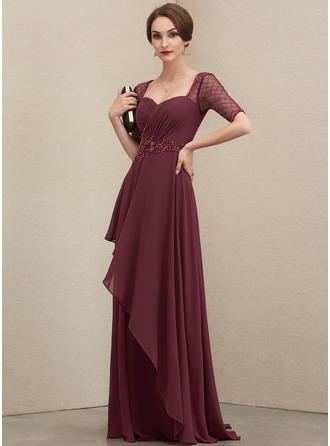 Corte A Amada Longos Tecido de seda Vestido de festa com Beading lantejoulas Babados em cascata