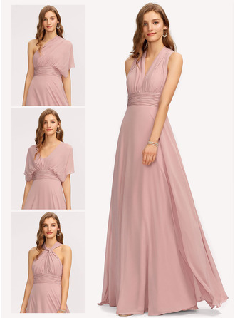 Halter One Shoulder V-Neck Dusty Rose Chiffon Dresses
